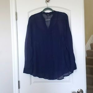 NWOT bright blue silky size L full sleeve top with spegati
